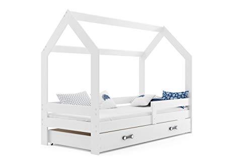 Hausbett Kinderbett DOMEK 160x80cm aus Kiefernholz mit Lattenrost und Matratze (weiß + weiße Schublade)