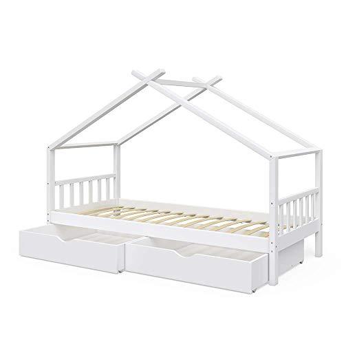 VitaliSpa Kinderbett Hausbett Design 90x200cm INKL SCHUBLADEN Kinder Bett Holz Haus Schlafen Hausbett Spielbett Inkl. Lattenrost