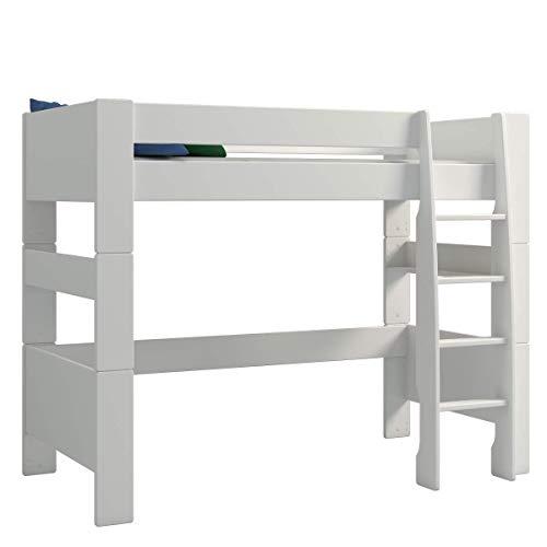 Steens For Kids Kinderbett, Hochbett, inkl. Lattenrost und Absturzsicherung, Liegefläche 90 x 200 cm, MDF, weiss