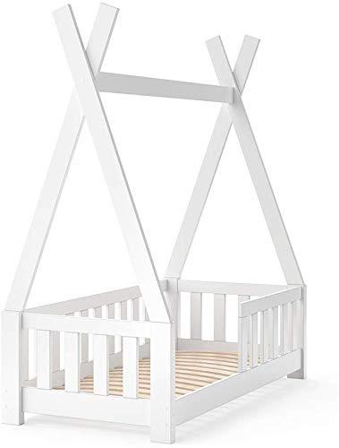 VitaliSpa Kinderbett Tipi Hausbett Indianer Bett Kinderhaus Massivholz Zelt Holz mit Zaun 70x140cm