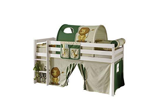 Jugendmöbel24.de Hochbett Aron 90 * 200 cm Kiefer massiv weiß TÜV EN geprüft FSC Zertifiziert Spiel Kinder Stock Massivholz