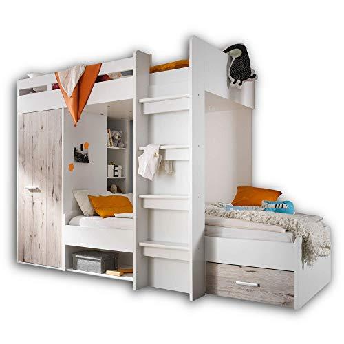 Stella Trading MAXI Hochbett mit Schrank & 2x Liegeflächen 90 x 200 cm - Platzsparendes Kinder Etagenbett in Sandeiche Optik, weiß - 269 x 180 x 115 cm (B/H/T)