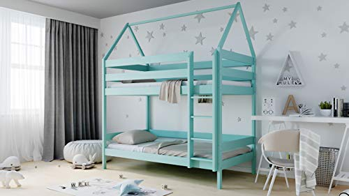 WFL GROUP Kinderbett Haus Etagenbetten 3ft Single 90x190 90x200 80x160 cm Kiefer Massivholz Hausbett Etagenbett Für Kinder - 190 x 90 cm - Minze