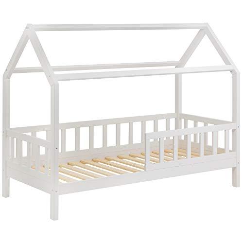 Hausbett für Kinder - Schönes Kinderbett aus Holz mit Rausfallschutz | Jugendbett im skandinavischen Haus Stil | Massivholz Weiß (Ohne Schubladen)