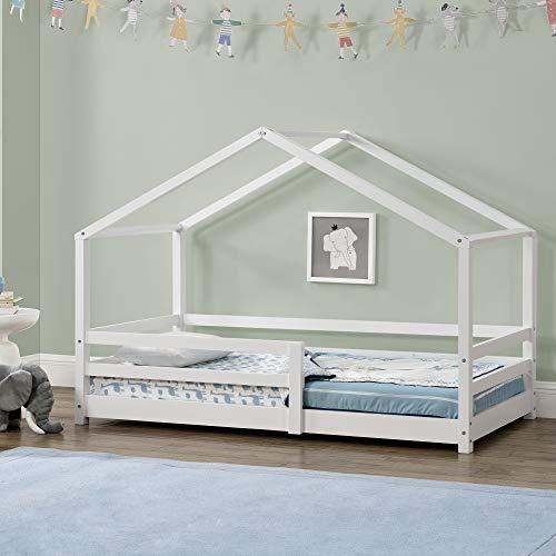 Kinderbett mit Rausfallschutz 80x160 cm Bettenhaus Hausbett Weiß