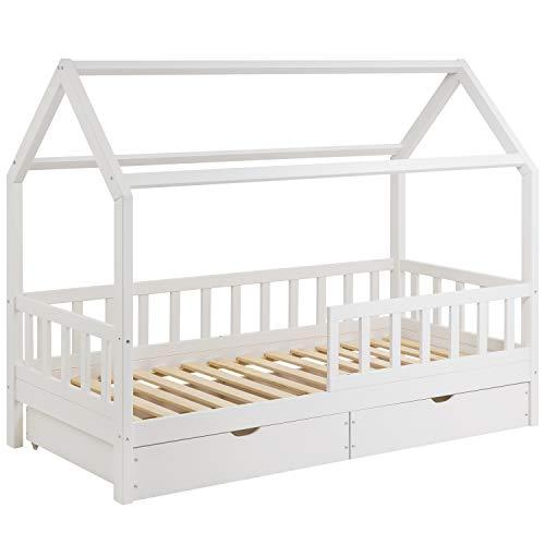 Hausbett für Kinder 90x200 cm - Schönes Kinderbett aus Holz mit Schubladen und Rausfallschutz | Jugendbett im skandinavischen Haus Stil | 90 x 200 Kiefer Bett inkl. Lattenrost | Massivholz Weiß