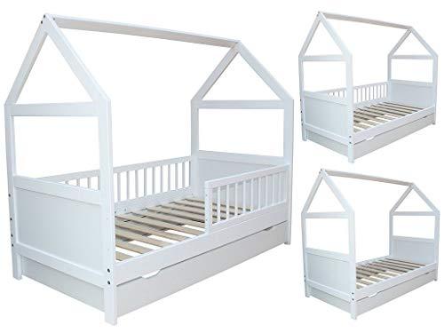 Kinderbett Juniorbett Bett Haus 140x70cm massiv mit Schublade weiss umbaubar