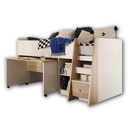 PIERRE Hochbett mit Schreibtisch 90 x 200 cm - Platzsparendes Kinder Etagenbett in Eiche Sonoma / Weiß - 102 x 107 x 204 cm (B/H/T)