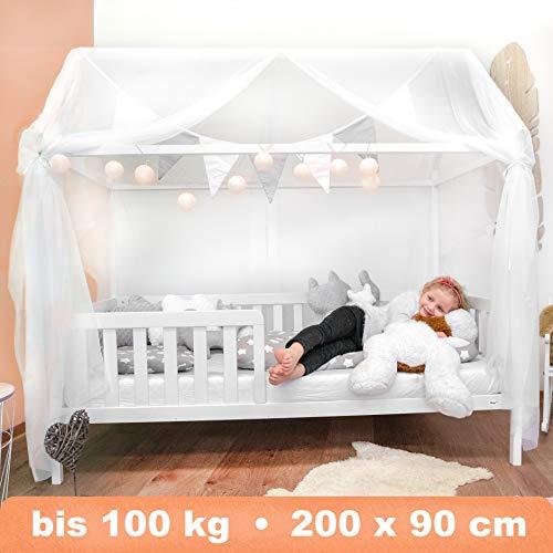 Alcube Hausbett 200x90 cm - stabiles Kinderbett mit Rausfallschutz und Lattenrost - weiß lackiertes Spielbett aus Kiefernholz für Jungen und Mädchen - Geeignet für Vorhänge und Himmeldekoration