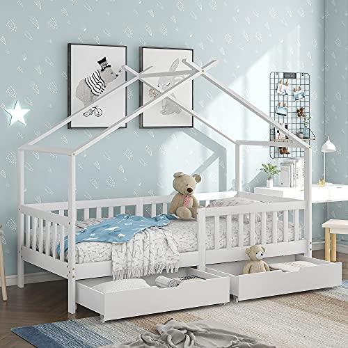 Kinderbett,Schönes Hausbett,Vollholz mit Zaun und Lattenrost, mit Rausfallschutz für Kinder- und Jugendzimmer (Weiß +2 Schubladen, 90 X 200 cm)