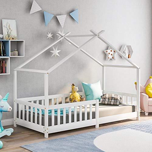 Kinderbett 90x200 cm Hausbett mit Schornstein Rausfallschutz Robuste Lattenroste  Kiefernholz Haus Bett for Kids (Weiss)